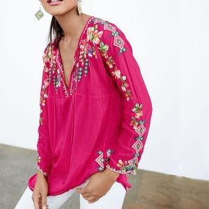 Johnny Was Vanessa Georgette Embroidered Tunic Top